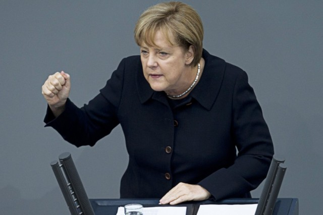 Angela Merkel, the leader of the CDU and Chancellor of Germany. This is what we voted for, folks. Why? Because we suck. That´s why.